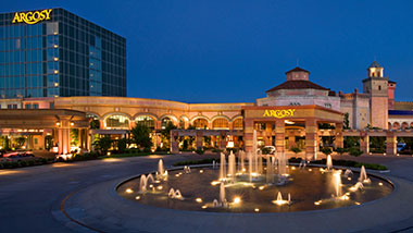 Nighttime view of the circular fountain in front of Argosy Casino in Riverside, Kansas.