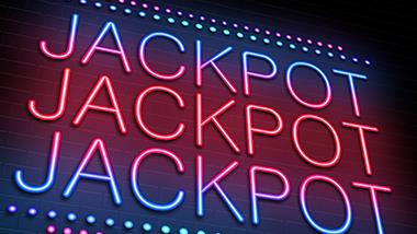 3 rows of the word jackpot in neon blue and pink