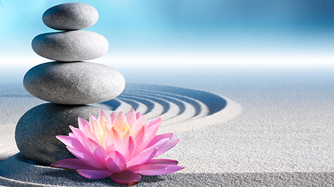 rocks stacked and flower in the sand spa photo