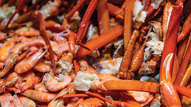 Buffet variety of crab legs