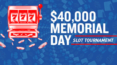 "Red slot machine image next to the words ""$40,000 Memorial Day Slot Tournament"" on a dark blue background."