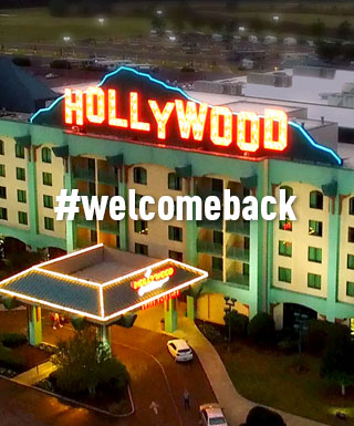 "Hollywood Casino Tunica exterior with text ""#welcomeback"""